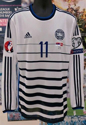デンマーク(A)14/15 adizero 選手用長袖 ベントナー#11 EURO予選vsセルビア
