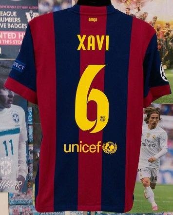 FCバルセロナ(H) 14/15 UEFA CL決勝 シャビ#6 パッチ2個、マッチデイ付き