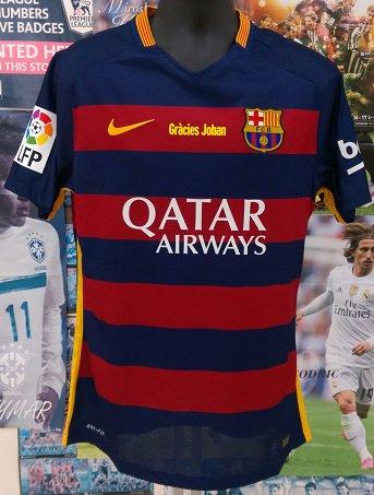 FCバルセロナ(H) 15/16 オーセンティック Gracies Johan 選手用背番号付き  N&N + LFPパッチ
