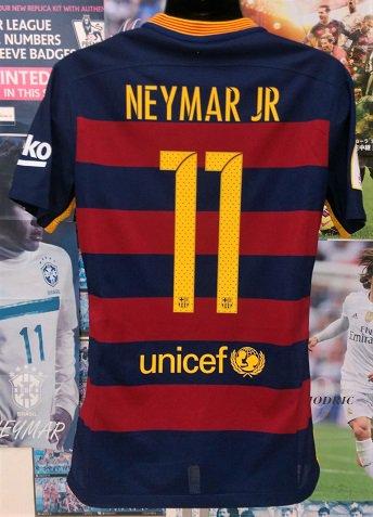 FCバルセロナ (H) 15/16 オーセンティック 選手用、穴開き背番号付き! 国王杯ファイナル