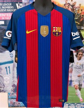 FC バルセロナ (H) Int National  Champions Cup 2016 オーセンティック 選手用穴開き背番号付き