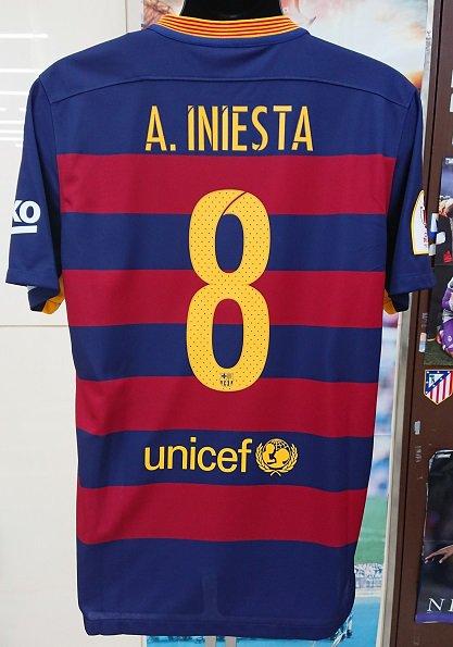 FCバルセロナ(H)国王杯FINAL2016 A,イニエスタ#8 穴あき選手用背番号付。