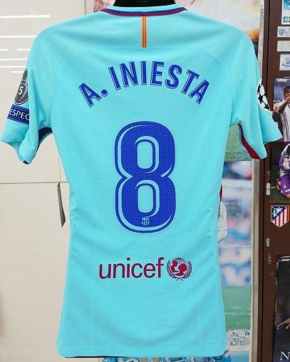 FCバルセロナ(A)17/18 選手支給 UEFA CL用 イニエスタ#8