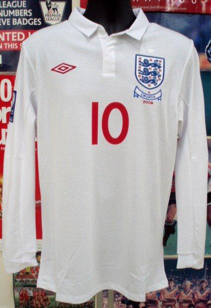 イングランド(H)09/10長袖ルーニー#10vsクロアチア+パッチ