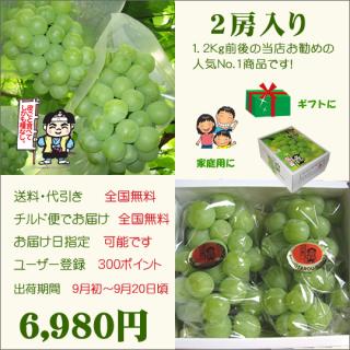桃太郎ぶどう2房入り(送料・代引き・チルド便・無料)
