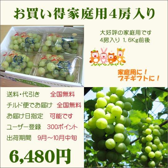 桃太郎ぶどう家庭用4房入り(送料・代引き・チルド便・無料)