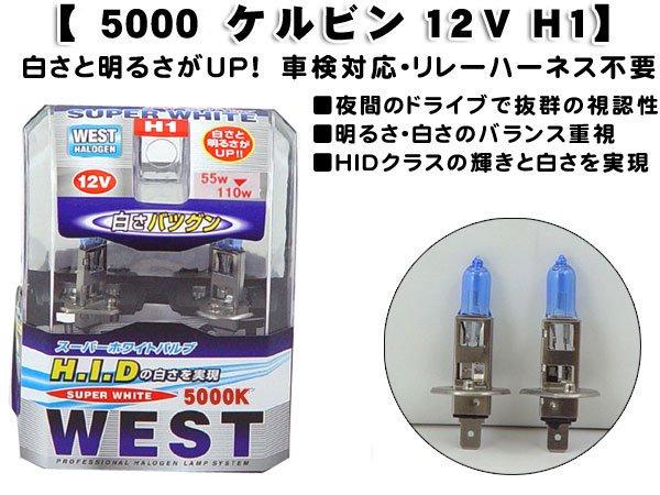 【白さと明るさがUP!】スーパーホワイトバルブ5000ケルビン 12V  H1