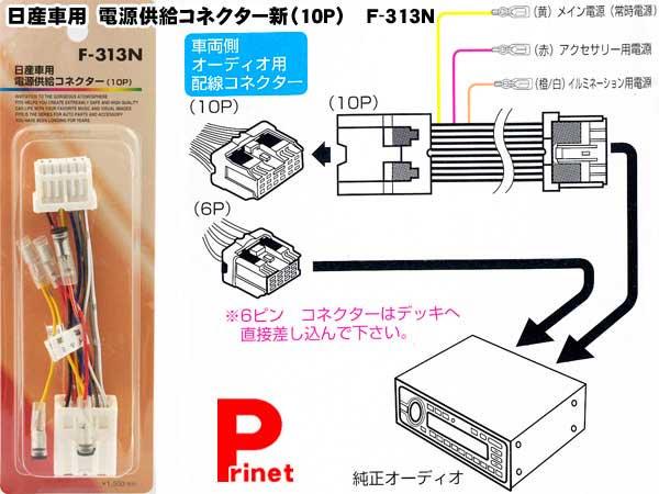 【メール便】日産車用電源供給コネクター(10P)F-313N