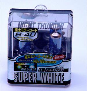 H4U/H4  4700K  スーパーホワイトバルブ/ヘッドライト・極太ミラーコートバルブ