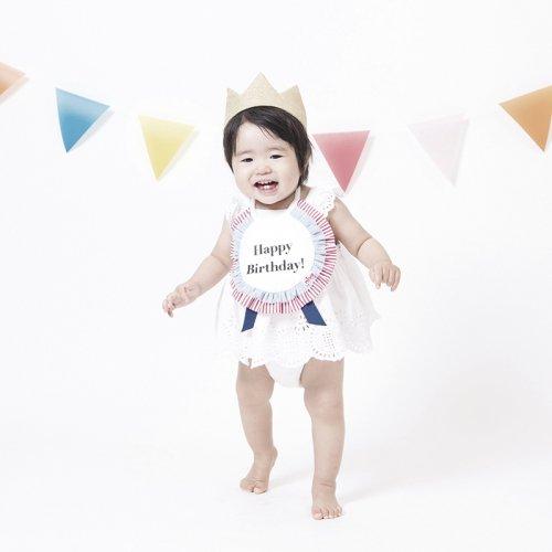 お誕生日に!撥水シート入りロゼット型バースデースタイ/BIRTHDAY