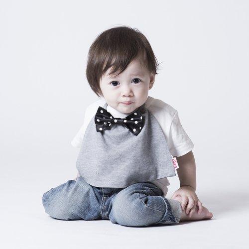 黒白ドットのサテン蝶ネクタイ付きスタイ(グレー)/butterfly tie
