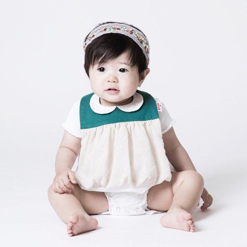 襟付きリボン柄おめかしスタイ/Little lady