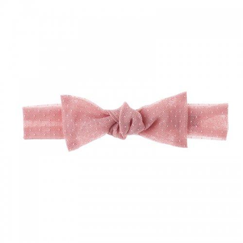 ドットチュールのレースヘアバンド(ピンク)