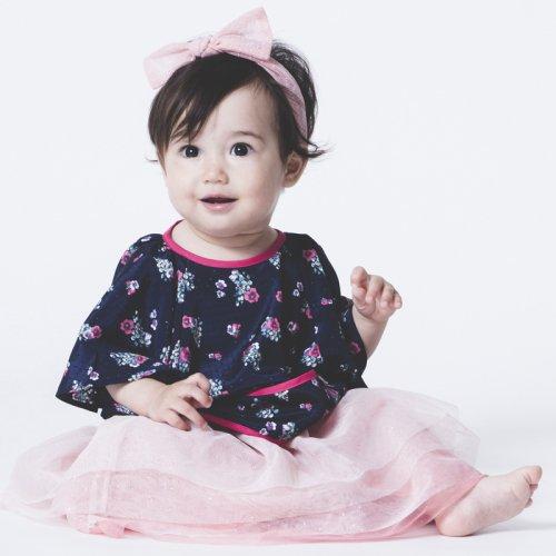 女の子用袖付き撥水おめかし花柄お食事エプロン/Restaurant bib - Flower(2色展開)