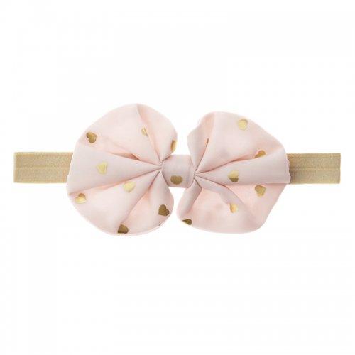 ピンクのシフォンにハートの金箔プリントのヘアバンド/Many Gold Hearts ribbon hair band
