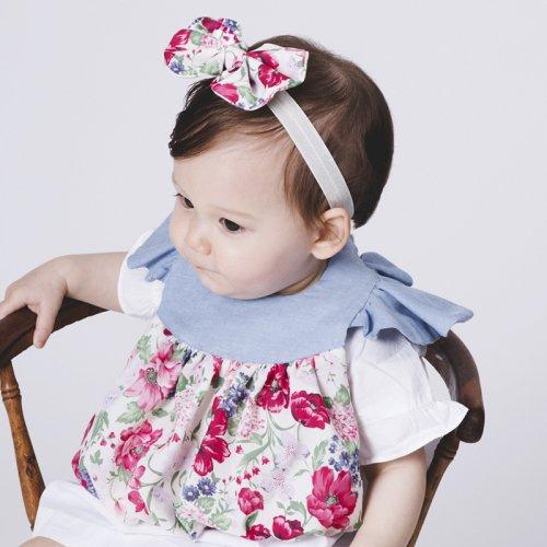 肩フリル花柄スタイ/Blooming girl bib(2色展開)