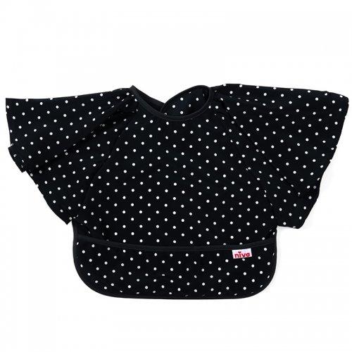 女の子用袖付き撥水おめかし水玉お食事エプロン/Restaurant bib - Polka Dot
