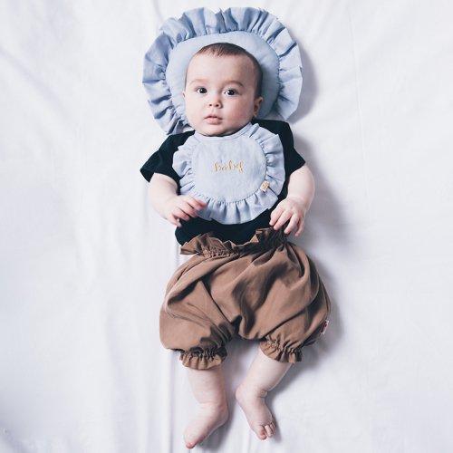 コットンリネンbaby刺繍スタイ/Cotton Linen baby bib(3色展開)