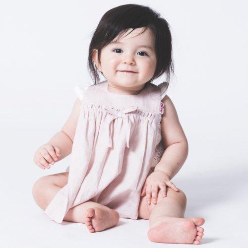 【SALE】コットンリネンワンピース風スタイ/Cotton Linen bib(2色展開)