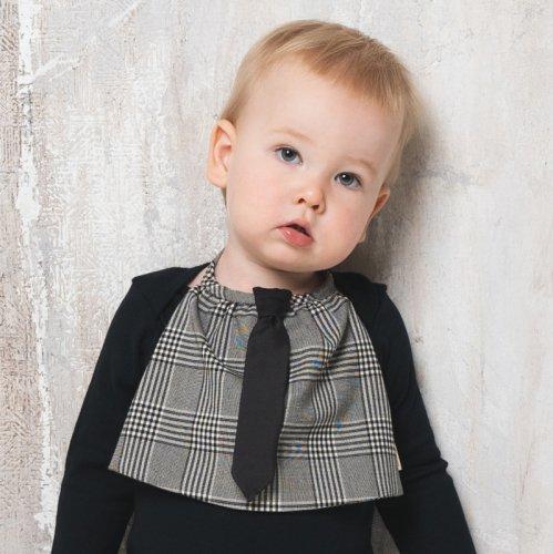 グレンチェックボディのシックなネクタイ付きスタイ/ necktie - glen check