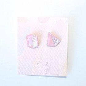 【hikage】絵画のかけらピアス/ベビーピンク×シルバー
