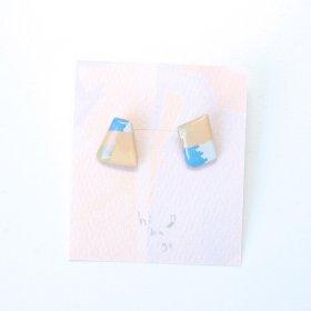 【hikage】絵画のかけらピアス/ペールオレンジ×ブルー
