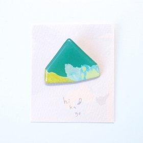 【hikage】絵画のかけらブローチ/グリーン×ライム