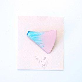 【hikage】絵画のかけらブローチ/パステルピンク×アクア