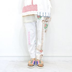 YEAH RIGHT !!  WHITE MESH LINE PANTS(SIZE 1)B
