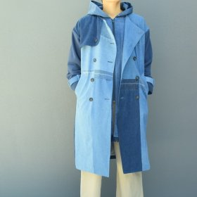 YEAH RIGHT !!  PLAY! TRENCH COAT/DENIM (HOOD LINING)