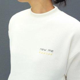 maindish  mock neck knit sweat  (white)