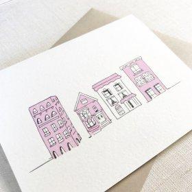 """PINK HOUSES"" グリーティングカード"