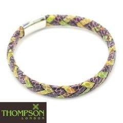 【Thompson London】イタリアンレザー・パープル×グリーンミックスのブレスレット(ブレスレット)