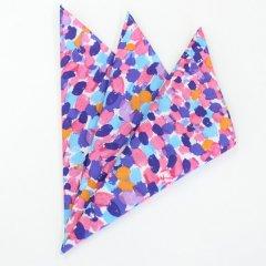 日本製・汗も拭けちゃう綿100%・マルチドット柄・ピンク・ポケットチーフ・ポケットスクウェア