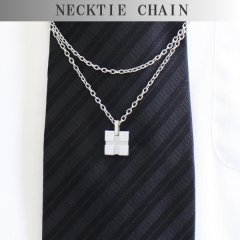 ネクタイチェーン・シルバー・クロス・一粒ダイヤモンドのタイチェーン