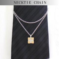 ネクタイチェーン・ゴールド・クロス・一粒ダイヤモンドのタイチェーン