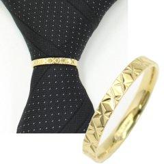 ネクタイリング・重ね付けにおススメ・イエローゴールド×ダイヤラインのタイリング(スカーフリング)