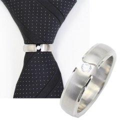 ネクタイリング・マットシルバー×キラッと輝く一粒ストーンのタイリング(スカーフリング)