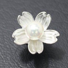 ラペルピン・サクラ咲く春・桜のアコヤ真珠パール6.5mmブローチ(タイタック)