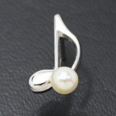 ラペルピン・気分も弾むト音記号・音符モチーフのアコヤ真珠パール5.0mmブローチ(タイタック)
