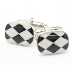 ブラック×ホワイトのモダンなダイヤ柄カフス(カフリンクス/カフスボタン)