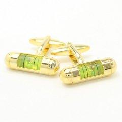 全3色・リアルな機能付き・ゴールド×イエローの水平器のカフス(カフリンクス/カフスボタン)