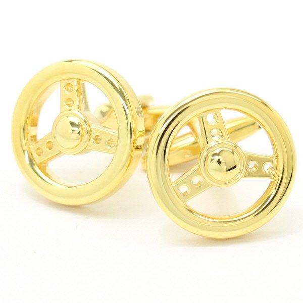 全2色・ドライブ気分を味わえるゴールドハンドルのカフス(カフリンクス/カフスボタン)