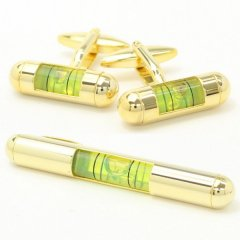 全3色機能付き・気泡がユラユラ水平器のカフス・タイピンセット(ゴールド×イエロー)