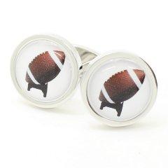 【SoniaSpencer】ラグビーボールのイラストカフス(カフリンクス/カフスボタン)