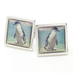 【SoniaSpencer】海辺にたたずむペンギンのカフス(カフリンクス/カフスボタン)