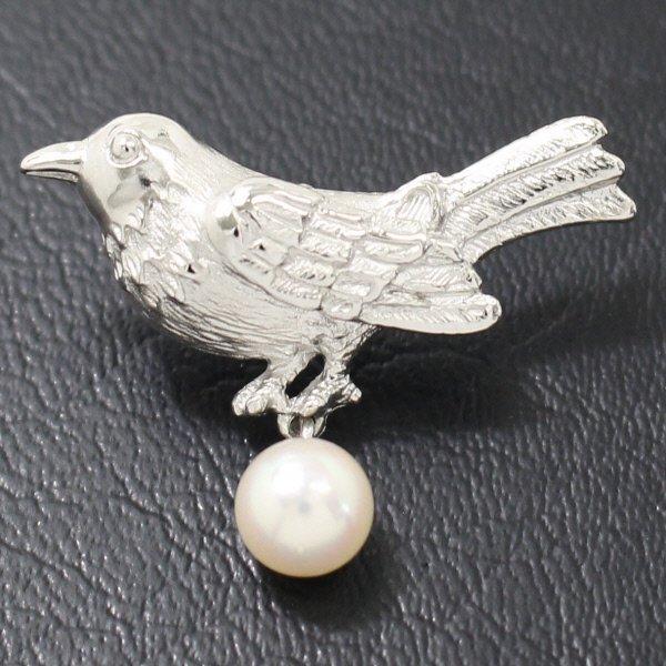 ラペルピン・野鳥と揺れるアコヤ真珠パール6.0mmブローチ(タイタック)