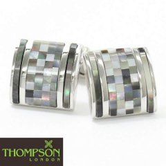 【Thompson London】メノウ・MOPのモザイク柄カフス(カフリンクス/カフスボタン)