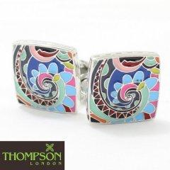 【Thompson London】カラフルカラーのパターンデザインカフス(カフリンクス/カフスボタン)