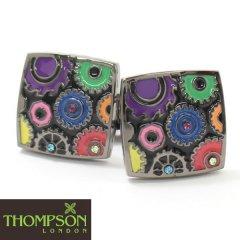 【Thompson London】カラフルカラーのギアデザインカフス(カフリンクス/カフスボタン)